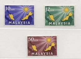 Malaysia, 1963, SG   1 - 3, Complete Set, MNH - Malaysia (1964-...)