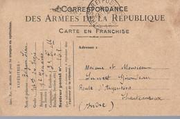 "Frankrijk Carte En Franchise ""Correspondance Des Armees De La Republique"" Gebruikt 1916 (503) - Postales  Transplantadas (antes 1995)"