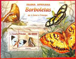 A3184 - SAO TOME & PRINCIPE, ERROR MISSPERF, Souvenir Sheet: 2013, Butterflies - Butterflies