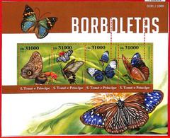 A3201 - SAO TOME & PRINCIPE, ERROR MISPERF, Miniature Sheet: 2015, Butterflies - Butterflies