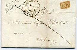 CREUSE. Lettre 1834 CAD T12 CHAMBON, 22 EVAUX-.P.P. - CAD T12 AUBUSSON, De Victor FOUROT, Avocat à Eugène ASSOLLANT. - 1801-1848: Precursors XIX