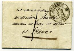 CREUSE .Lettre CAD Type 12 AUZANCE 1836, Expédiée à EVAUX à Victor FOUROT, Ancien Notaire Et Avocat. - 1801-1848: Precursors XIX