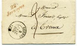 CREUSE. Lettre CAD Type 13 GUERET- 22 JARNAGES- 1835, CAD CHAMBON T12, Expédiée à Victor FOUROT à EVAUX. - 1801-1848: Precursors XIX