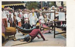 Burma, Street Dance Performance, Shwe Oo And Min Naung, Tiger Carries Off Woman Weaving C1900s/10s Vintage Postcard - Myanmar (Burma)