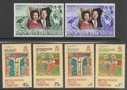 British Indian Ocean Territory    1972-3  Sc#48-53   Silver Wedding & Easter Sets   MNH   2016 Scott Value $4.10 - Territorio Británico Del Océano Índico