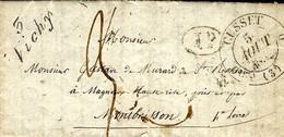 1832- Lettre Cursive 3 / Vichy + Cad  T 11-3  De CUSSET Taxe 3 Pour Montbrison - 1801-1848: Precursors XIX