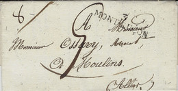 1827- Lettre De 6 / MONTLUCON ( Allier ) 42 X 10 Mm Noir Pour Moulins - 1801-1848: Voorlopers XIX