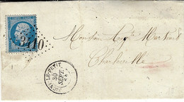 1864- Lettre De SIGNY-LE-PETIT ( Ardennes ) Cad T15 Affr. N°22 Oblit. G C 3410 - 1849-1876: Classic Period
