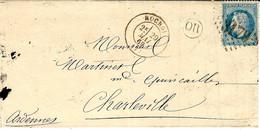 1869- Lettre De ROCROI ( Ardennes ) Cad T15 Affr. N°29 Oblit. G C 3179 - 1849-1876: Klassieke Periode