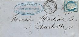 1871- Lettre De MAUBERT-FONTAINE ( Ardennes ) Cad T16 Affr. N°60 Oblit. G C 2271 - 1849-1876: Classic Period