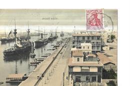 EGYPTE    PORT SAID      MAISONS BATEAUX COULEURS   Petit Pli Coin   CACHET ALLEMAND 1910 - Port Said