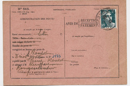 GANDON 2FR SEUL CARTE AVIS DE RECEPTION N° 515 EURE 6.12.1945 - 1945-54 Marianne Of Gandon