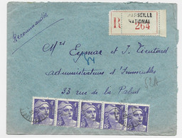 GANDON 4FR VIOLET BANDE DE 5 LETTRE REC MARSEILLE 1948 - 1945-54 Marianne Of Gandon