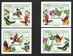 UNION DES COMORES 2010 PAPILLONS  YVERT N°B1931/34 NON DENTELES  NEUF MNH** - Butterflies