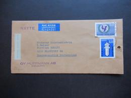 Finnland 1967 Näyte Luftpost Muster Ohne Wert Helsinki - Frankfurt. Warenprobe - Briefe U. Dokumente