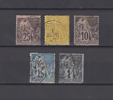 5 TIMBRES COLONIES GENERALES OBLITERES  DE 1881        Cote : 22 € - Alphee Dubois