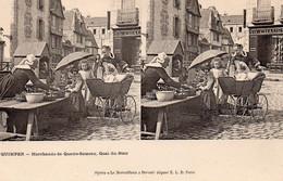 Quimper Animée Marchande De Quatre-Saisons Quai Du Steir Commerces Landau Carte Stéréoscopique - Quimper