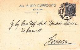 LA SPEZIA - CARTOLINA COMMERCIALE AVV.GUIDO D'AVVOCATO - STUDIO IN VIA DUCA DI GENOVA,6 - 1920 - La Spezia
