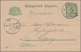 Postkarte P 56II/02 Ziffer Mit Wz.5 Und DV 02, SELB 8.8.1902 Nach LEIPZIG 8.8. - Bayern