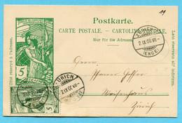 Postkarte Zürich 1900 Mit Identischer Zusatzfrankatur - Stamped Stationery