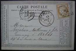 Gare De Lyon 1876 Carte Précurseur Pour Arles - 1849-1876: Periodo Classico
