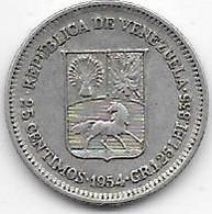 Venezuela - 25 Centimos 1954 - Argent - TTB - Venezuela