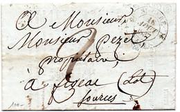 """Cachet 12 St CERE"""" Pour FIGEAC Le 16/8/37,L.A.C. - 1801-1848: Precursors XIX"""
