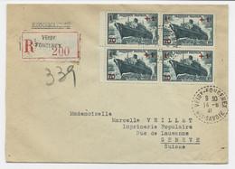 N° 502 BLOC DE 4 LETTRE C. PERLE VEIGY FONCENEX 14.6.1941 HTE SAVOIE POUR GENEVE TARIF FRONTALIER A 4FR RARE - 1921-1960: Periodo Moderno