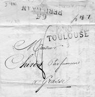 """Linéaire """"30 Toulouse"""" Pour GRASSE,fausse Direction,cachet PERPIGNAN,rouge. - 1801-1848: Precursors XIX"""