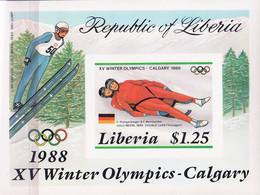 Olympic Games 1988 , Liberia - Blok Postfris - Hiver 1988: Calgary