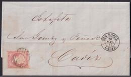 1857. GIBRALTAR A CÁDIZ. 4 CUARTOS ROJO ED. 48. FECHADOR TIPO II SAN ROQUE EN NEGRO. MNS. ESTAFETA. - Gibraltar