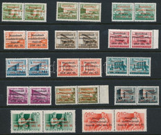 ** 1956 Soproni Kiadás 14 értékes Sor Párokban, Az 1,40Ft Részleges Gépszínátnyomattal, MB Garancia Bélyegzéssel. Összef - Zonder Classificatie