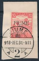 Fiume 1918 Fehérszámú Arató 10f M II, Kivágáson. Certificate: Bodor (Sassone EUR 16.000,-) - Zonder Classificatie