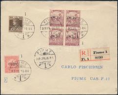 1919 Fiume Helyi Ajánlott Levél 6 Bélyeges Bérmentesítéssel, Közte Arató 3f Négyestömb Fordított Felülnyomással, érkezés - Zonder Classificatie