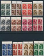 ** Muraszombat 1945 12 értékes Teljes Sor Luxus ívszéli Négyes Tömbökben, Minden érték Bodor Vizsgálójellel (140.000+++) - Zonder Classificatie