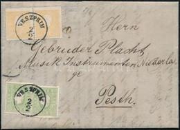 "1861 2 X 2kr + 2 X 3kr Zöld / Green, Levélen / On Cover, Luxus / Luxury ""VESZPRIM"" - Pesth (Ferchenbauer EUR 2.500,-) (p - Zonder Classificatie"