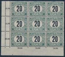 ** 1909 Zöldportó IV. 20f ívsarki Kilencestömb, Az Egyik ívszélen Dupla Fogazással (90.000) - Zonder Classificatie