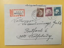 1977 BUSTA RACCOMANDATA GERMANIA DEUTSCHE BOLLO INDUSTRI TECNOLOGIA INDUSTRY GERMANY OBLITERE' FRANKFURT - Storia Postale