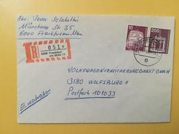 1980 BUSTA RACCOMANDATA GERMANIA DEUTSCHE BOLLO INDUSTRI TECNOLOGIA INDUSTRY GERMANY OBLITERE' FRANKFURT - Storia Postale