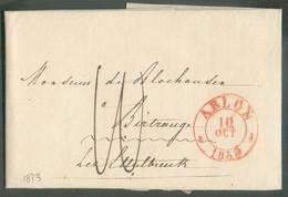 LAC D'ARLONdu 10 Octobre 1833 Vers Birtrange Lez Ettelbruck (GD De Luxembourg), Port '10' (encre) Verso Manuscrit '15 C - 1794-1814 (Periodo Frances)