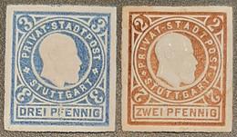 Germany  Privatpost/Stadtbrief Stuttgart 1889 2 & 3 Pfg (2 Pfg Hinge Rest ) Unused - Private