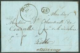 LAC De ARRAS 29 Sept. 1841 + Griffe 2R. Vers Lille (biffé) Et Renvoi Vers Tournay - Verso : FRANCE PAR TOURNAY Et Cachet - 1830-1849 (Unabhängiges Belgien)