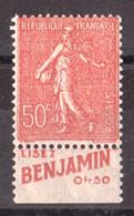 Bande Publicitaire Inférieure BENJAMIN > Semeuse N° 199 - Neuf ** - Reclame