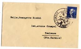 1943-- Lettre De Toulouse-31 Pour Toulouse--timbre N° 581 Seul Sur Lettre - Cachet  Journée Du Timbre 1943 - 1921-1960: Modern Period