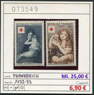 Frankreich - France - Michel 1032-1033 - ** Mnh Neuf Postfris - Rotes Kreuz / Red Cross / Croix Rouge / Rode Kruis - Nuovi