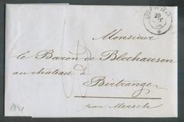 LAC De LUXEMBOURG Du 29 Octobre 1854 Vers Birtrange Par MERSCH (dc Au Verso), Port '10' (encre) - 17214 - ...-1852 Vorphilatelie