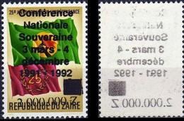 """1289**+ Surcharge Recto Verso """"conférence Nationale …"""",NON EMIS - ZAÏRE - 1990-96: Nuovi"""
