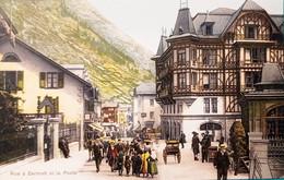 Cartolina - Svizzera - Rue à Zermatt Et La Poste - 1900 Ca. - Non Classificati