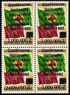 """1289**+Surcharge """"conférence Nationale …"""", NON EMIS - Bloc De 4.- ZAÏRE - 1990-96: Nuovi"""