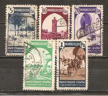 Marruecos Español - Edifil 202-03, 205, 207-08, 212 - Yvert 304-05, 307, 309-10, 314 (usado) (o) - Spanish Morocco